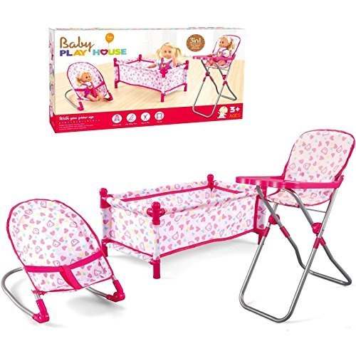 4ee7c0c043b Childrens Kids Deluxe 3 in 1 Baby Dolls Folding Cot Bed Pillow Cover  Bouncer High Chair Accessories Pretend Role Play Toy Game Set Girls 3 Piece  Xmas Gift ...