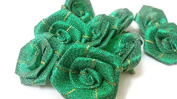 Indian Designer Floral Crafting Royal Appliques Sewing Supplies Handcrafted Indian Dress Decorative green Patches-price for 10 patches-IDE41