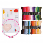 SOLEDI Embroidery Starter Kit Cross Stitch Kit with 50 Colours Threads Embroidery Hoops and Tools