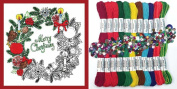 Design Works Zenbroidery Stamped Embroidery Kit w/ Thread CHRISTMAS WREATH #4026