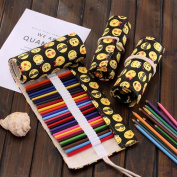 48 Slots Canvas Coloured Pencil Wrap Cute Emoji Roll Up Pencil Pen Case Bag Travel Drawing Kit Pouch Makeup Brushes Holder Organiser Multi-purpose for Adults and Kids