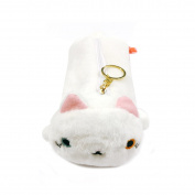 Wrapables Cute Cat Pouch Plush Pencil Case, White