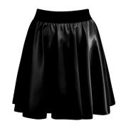Womens Wetlook Skater PVC Flared Mini Skirt Ladies Black Leather Swing Shorts