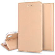 For Huawei Y6 II Case - Ukayfe Huawei Y6 II Leather Case - Solid Colour Gold Huawei Y6 II Wallet Case, Flip Case Cover [Wallet Stand], Card Slots For Huawei Y6 II - Gold