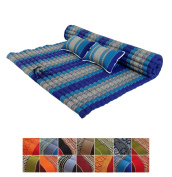 Traditional Thai Kapok XXL Roll-Up Meditation Mattress with 2 Matching Support Pillows for Yoga Massage or Relaxation