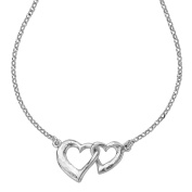 DOWER & HALL Entwined Sterling Silver Small Interlocking Hearts on 46cm Chain Necklace