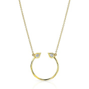 Ron Hami Women's 14ct Yellow Gold Small Round White Diamonds Carved Horseshoe Pendant Necklace of Length 45.72cm