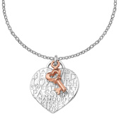 Dower & Hall Memento Sterling Silver Engraved Heart and Plated Key Pendant on 46cm Trace Chain