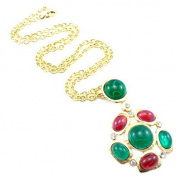 Kenneth Jay Lane Satin Gold and Resin Cabochon Cluster Pendant