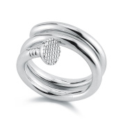 Mateo NYC Sterling Silver Nail Double Wrap Ring - Size R