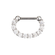 BODYA 16G U Taper Circular Barbell Nose Ear Daith Septum Clicker Ring with Clear CZ Gems 316L Surgical Steel 1pc