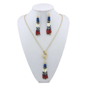 BOCAR Long Gold Chain Seed Beads Jewellery Necklace Earring Set with Cluster Tassel Pendant