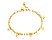 Onefeart Gold Plated Anklet For Women Girl 22CM+4CM Extended Chain Foot Pretty Decorative Heart Shape