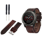 Replacement Leather Watch Band With 2PC ScrewdriverFor Garmin Fenix 5X GPS Watch,Tuscom
