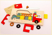 3D Animals Wooden Peg Puzzles Set for Toddlers, Preschool Age Simple Educational & Sensory Learning