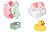 Baby Gift Sets Decorative Storage Bin, Hooded Bath Towel, Matching Wash Cloths and Safety Bath Ducky