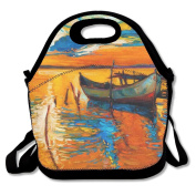 FutongHuaxia Oil Painting Interesting Outdoor Lunch Bag Lunch Box Thermal Insulated Tote Cooler Lunch Pouch Picnic Bag Lunch Tote, For School Work Office,gift For Women