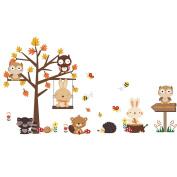WINOMO Animal Wall Sticker Art Decal Mural Kids Room Decoration Owl Rabbit Maple Tree