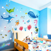 Wall Sticker,Woaill Colourful Fish Shark Ocean Wallpaper Vinyl Decal Mural Kid's Room Decor