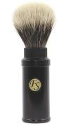 Frank Shaving Travel Finest/ Best Badger Bristle Shaving Brush Black with Twist Metal Cannister