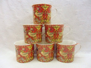 Set of 6 China Palace Mugs in vintage William Morris red strawberry thief design