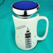 Amazing New Style Ceramic Tea Coffee Mugs With Glass Lids, Large Travel Mugs With Screw Lids Prime Homewares®