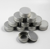 CHENGYIDA 10 pieces Empty Cosmetic Pots Lip Balm Container Jar Silver Aluminium Tins Box 10ml