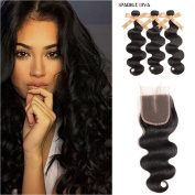 Sparkle Diva 100% Unprocessed 8a Brazilian Virgin Body Wave 3 Bundles Real Human Hair Weave 95-100g/pcs with 1 Piece Middle Part Lace Closure (10cm x 10cm ) Can Be Customised