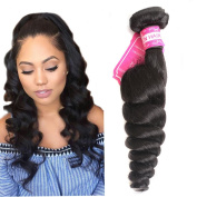 7A Brazilian Loose Wave Hair Weft 1 Bundle 20cm - 80cm Loosse Wave Human Hair Bundles No Shedding LI & Queen Virgin Remy Human Hair Extensions Loose Wave 100G Colour 1B# 20cm