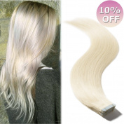 Tape in Human Hair Extension Platinum Blonde #60 100% Remy Hair 46cm Bonding Double Sided Tape Seamless Skin Weft Hair 20Pcs/30g + 10pcs Free Tapes