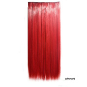 CXYP Straight Synthetic Clip In Hair Extensions 60cm Cosplay Hairpiece 5 Clips Attached