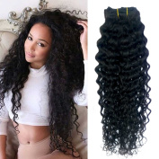 Doren Curly Clip In Human Hair Extensions 8A Brazilian Virgin Remy Hair Deep Curly Clip Ins for Women 8Pcs 20Clips 100g Natural Colour 46cm