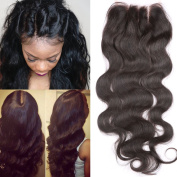 Fennell 3 Part Closure Body Wave Virgin Brazilian Hair 130% Density Lace Closure Natural Hair Colour Bleached Knots
