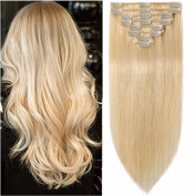 Standard Weft 25cm 70g Clip in 100% Real Remy Human Hair Extensions 8 Pieces 18 Clips #613 Bleach Blonde