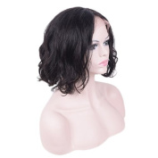 Auspiciouswig Short Bob Natural Curl Brazilian Human Hair Lace Front Wigs for Black Women Middle Part Natural Colour