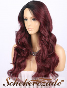 "Scheherezade Burgundy Ombre Wig M0370 - Fashionable Long Wavy Synthetic Wigs for Women Right Side 3"" Deep Parting 2 Tone Black to 99j Wine Wig 60cm"