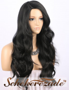 Scheherezade Black Wig Wavy Natural Looking Deep Parting Long Synthetic Wigs for Women Machine Made Replacement Full Wig 60cm