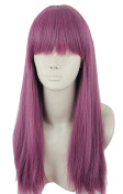 Topcosplay Long Straight Anime Cosplay Wigs Natural Halloween Costume Purple Fancy Wig