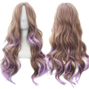Straightened length 70cm Wig mixed colour Long Curly Wavy Hair Women and Girl Cosplay Party Costume Wig
