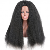 Addcolo Natural Looking Synthetic Hair Lace Front Wigs Kinky Straight Synthetic Wig Lace Front Replacement for Women