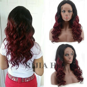 RIJIA Ombre 99J Body Wave Full Lace Glueless Lace Front Wigs Brazilian Human Hair Two Tone Wigs With Baby Hair 100 Virgin Hair for Black Women
