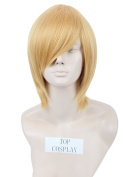 Topcosplay Short Straight Anime Cosplay Wigs Natural Halloween Costume Party Daily Hair Blonde
