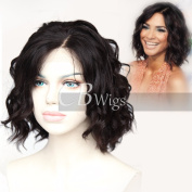 Cbwigs Glueless Short Bob Curly Human Hair Lace Front Wig with Baby Hair for Black Women 11cm Deep Parting Loose Curly Full Wigs Natural Colour 150% Density
