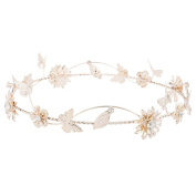 Lux Accessories Rose Gold Tone Metal Flower Floral Butterfly Leaf Crown Headband