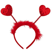 Lux Accessories Red Fabric Furry Heart Antenna Valentine's Day Festive Headband