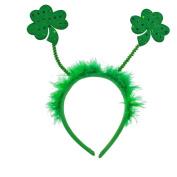 Lux Accessories Green Fabric Furry Shamrock St. Patrick's Day Festive Headband