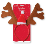 Reindeer Antlers With Christmas Hat Headband Fancy Dress Christmas Party Unisex