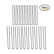 40 Pcs Hair Clips Crink U Shaped U-Shape bobby pins Hair Clips Black