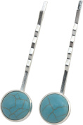 Hair Pin, TWO Silver Plated Turquoise Magnesite Gemstone Hair Pins -5.1cm (2) + FREE GIFT BAG