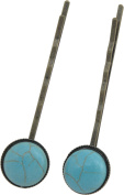 Hair Pin, TWO Antique Bronze Turquoise Magnesite Hair Pins -5.1cm (2) + FREE GIFT BAG